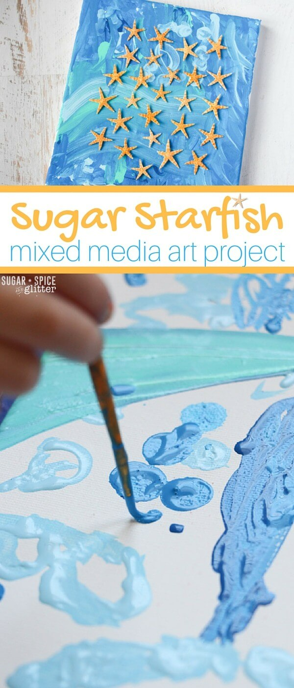 Starfish Ocean Art Idea - a mixed media art project for kids. This beautiful beach wall art is great for families who love the beach, or for children who are studying the ocean.