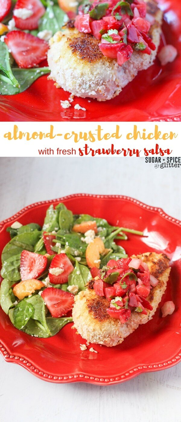 Almond-crusted chicken with fresh strawberry salsa - a healthy crispy chicken recipe with a fresh fruit salsa