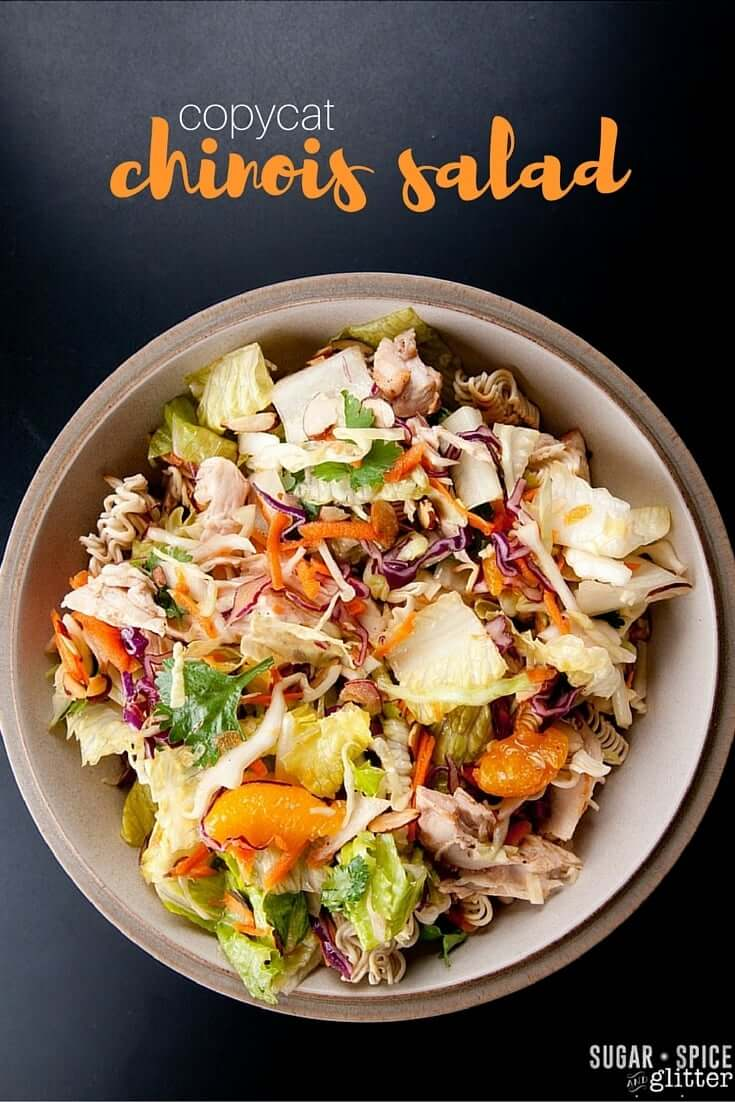 A healthy Copycat Chinese Chicken Salad with ramen noodles and easy sesame-ginger dressing