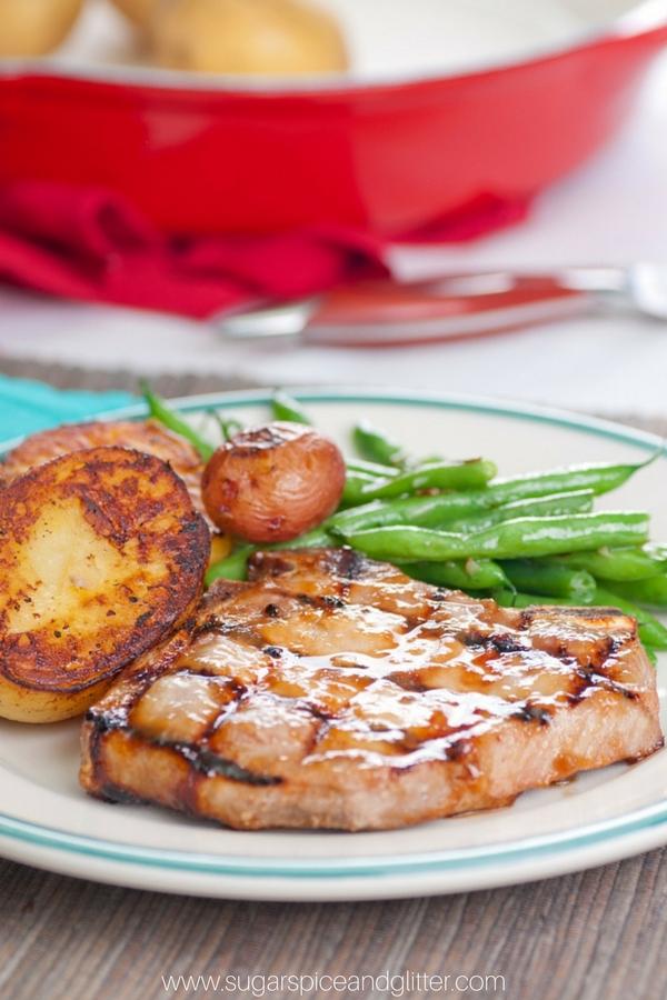 Peach Glazed Pork Chops - a delicious summer bbq recipe with a fresh fruit BBQ sauce