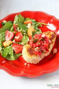 Almond-Crusted Chicken with Fresh Strawberry Salsa. A Gluten-free chicken breading
