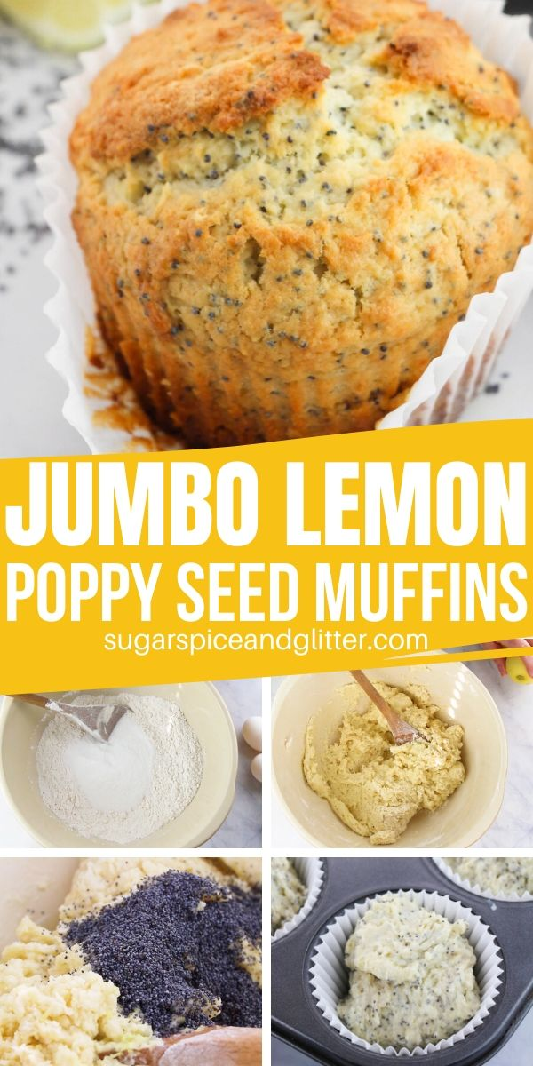 The perfect lemon poppyseed muffin made in a jumbo muffin tin, these are so lemony and satisfying, you won't ever buy another coffeeshop muffin again!