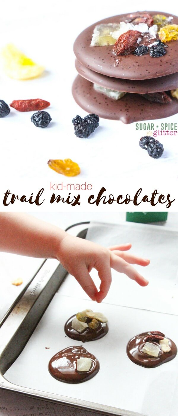 These kid-made trail mix chocolate melts are a quick dessert the kids can help make while you're preparing supper, and they will be ready by dessert! Add a bit of salt to the grown up chocolate melts for an amazing sweet-salty flavor
