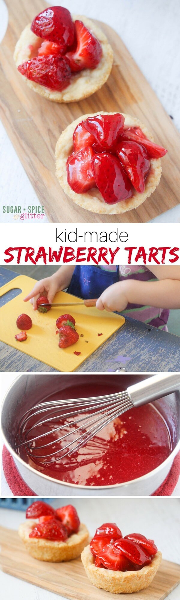 These are the perfect kid-made strawberry tarts, with a fail-proof pie crust and easy glaze. The buttery crust melts in your mouth without bing crumbly, while the strawberries remain crisp and juicy while covered in that perfectly-sweet glaze.