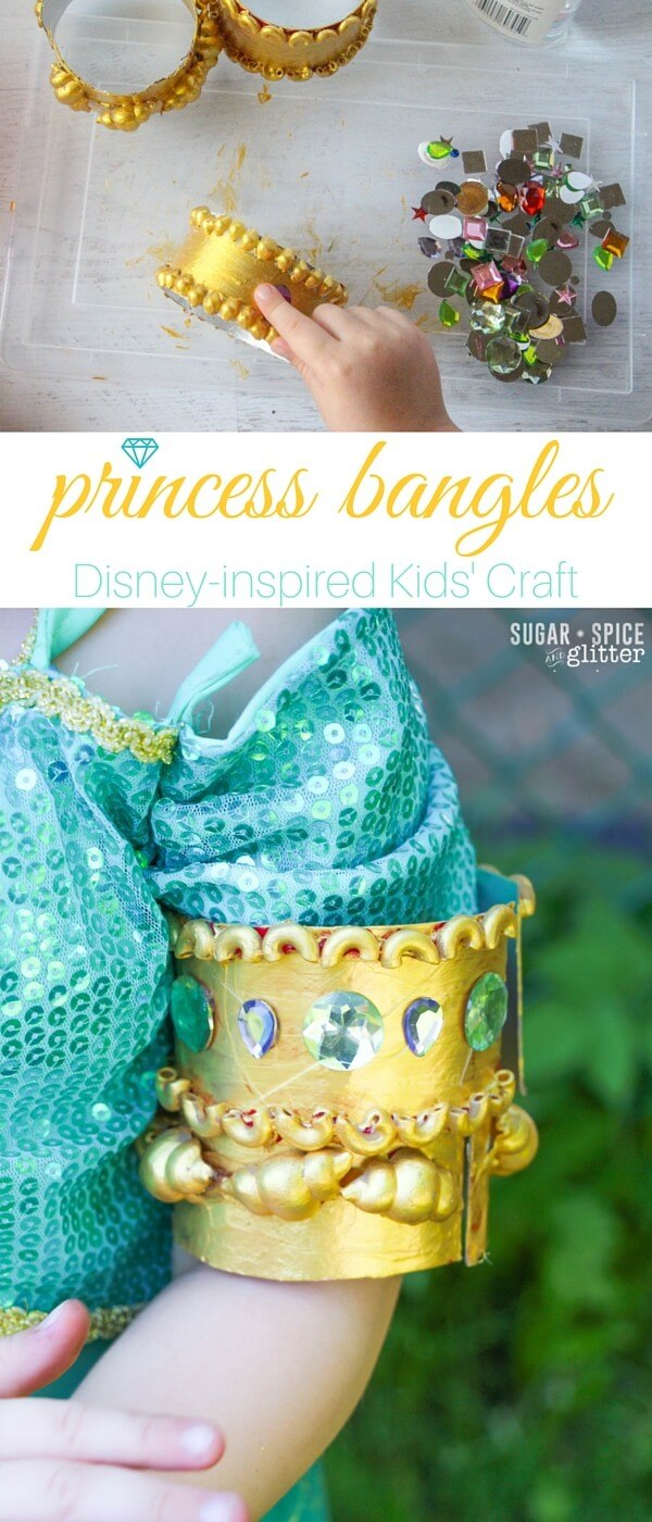 Do you have a little princess who loves to craft? This princess bracelet craft for kids is inspired by Disney's Princess Jasmine, but you could switch out the colors for any princess - or as a cute Egyptian or Arabic cultural craft. (Not to mention it would be perfect for a Princess Jasmine birthday party.)