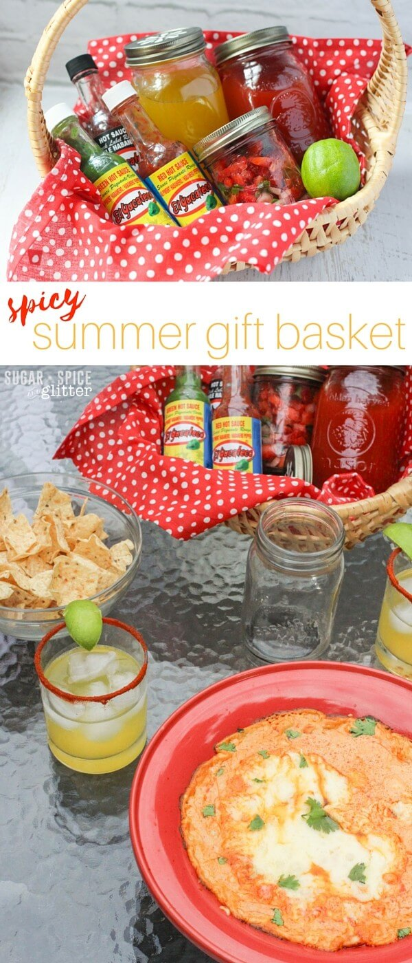 A spicy summer gift basket for your BBQ host - featuring homemade spicy cocktails, fresh strawberry salsa, and a spicy chicken enchilada dip. The perfect summer gift for foodies who like things spicy!