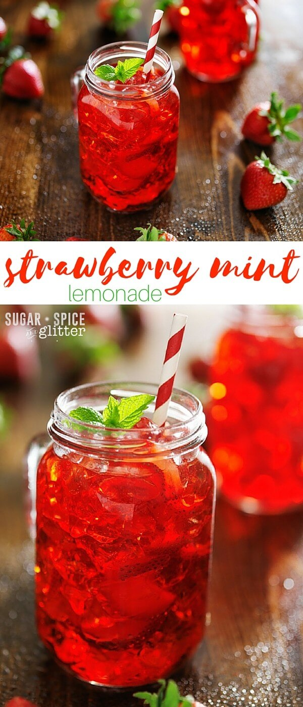 Cool & refreshing homemade strawberry mint lemonade made with a homemade strawberry-lemon simple syrup that is perfect for drinks, on waffles, or with other desserts (like strawberry tarts). A perfect summer drink recipe