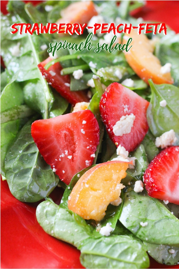 An easy and delicious spinach salad with fresh strawberries, peaches and feta. The perfect summer salad recipe