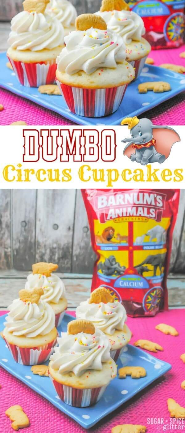 These Dumbo Circus Cupcakes would be such a cute addition to a Disney party or family movie night. A fun twist on a DisneyWorld dessert, and a great use for leftover Animal Crackers
