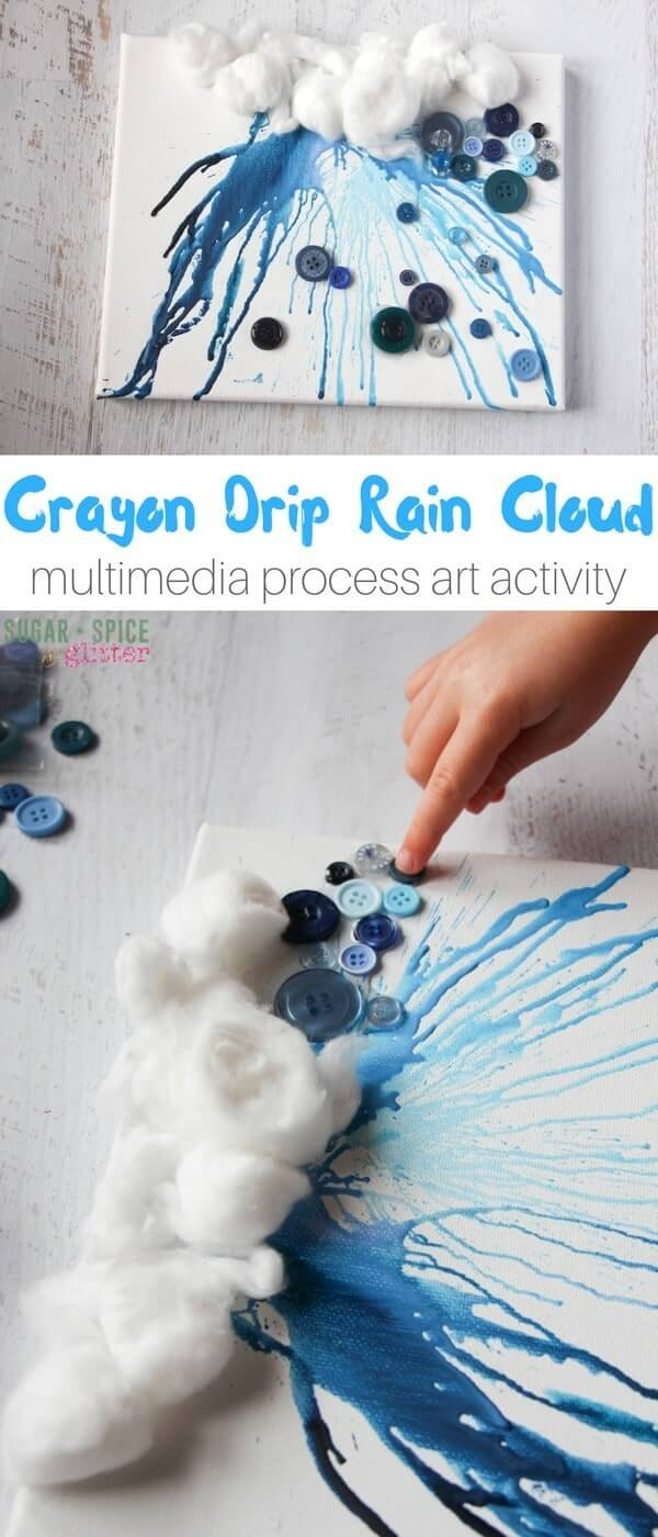 "This crayon drip rain cloud ""painting"" is an awesome process art project for kids on a rainy day. This post discusses why process art is great for kids and tips for successfully creating this project, or one similar to it!"