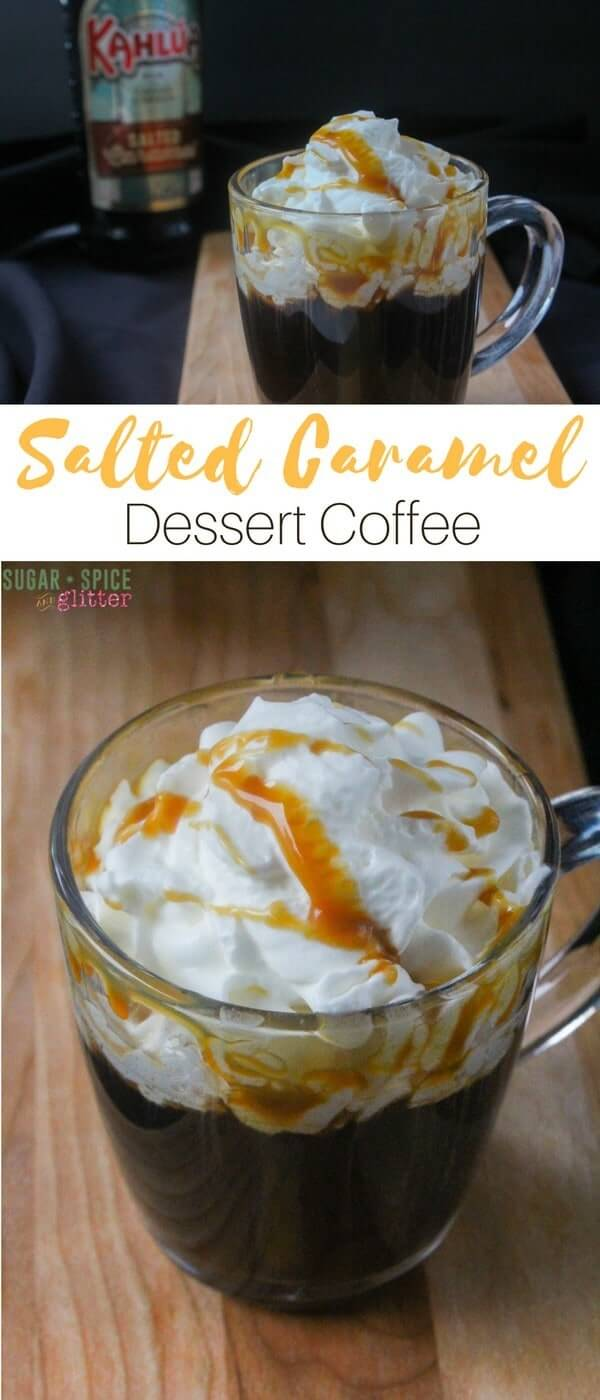 The perfect winter cocktail, this simple salted caramel dessert coffee is great for late night friends or enjoying with a delicious book