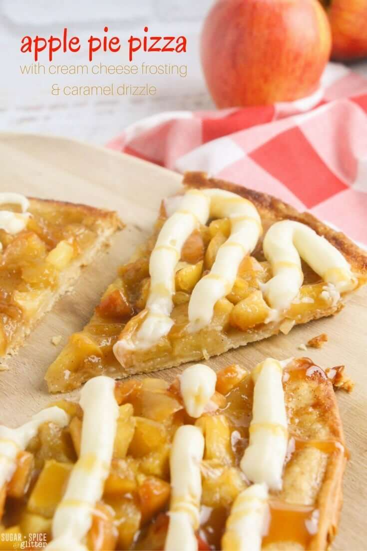 The perfect fall dessert for kids to make, this apple pie dessert pizza is quick and easy to make with apple pie topping, cream cheese frosting and caramel drizzle