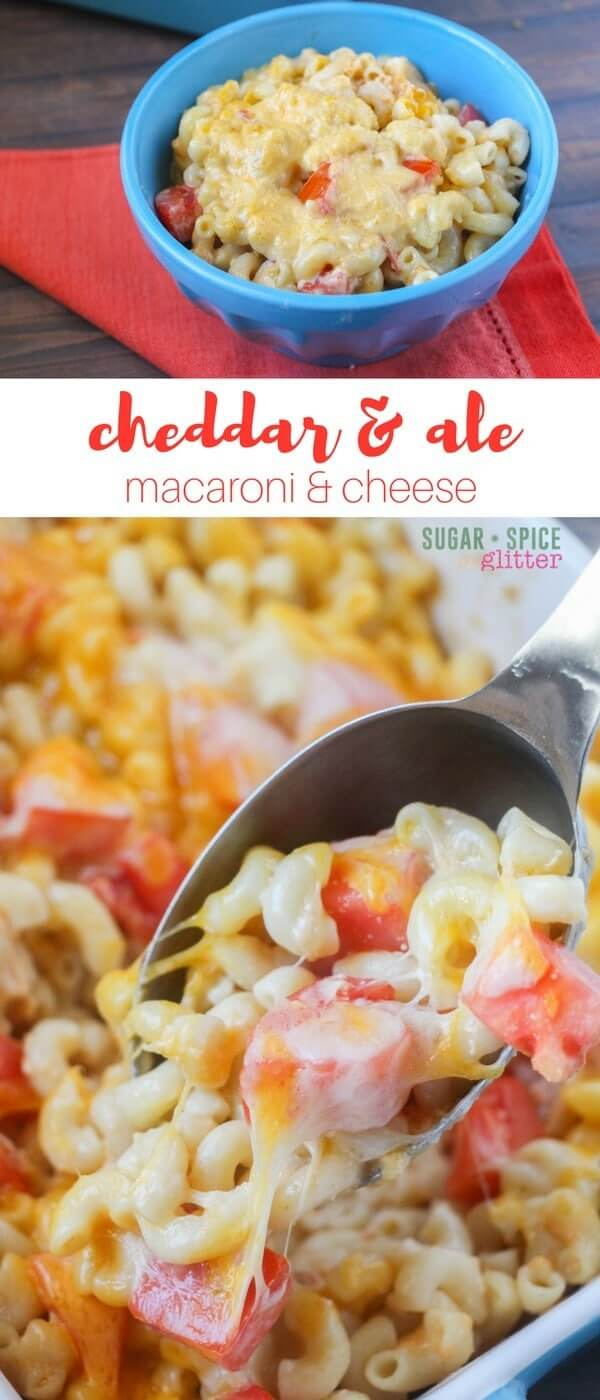 Cheddar & Ale Macaroni & Cheese - inspired by a classic Welsh Rarebit recipe, this indulgent macaroni & cheese recipe is indulgent and delicious, with a creamy, rich cheese sauce and juicy bites of tomato @visitwales #WelshRarebitDay