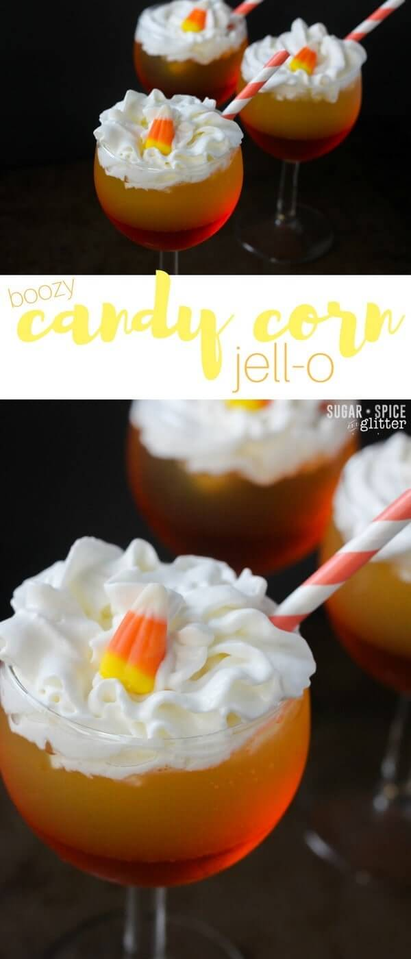 Boozy Candy Corn Jell-O parfaits for grown-ups, inspired by a simple Jell-O shot, these cute layered Jell-O cocktails are the perfect fun fall cocktail