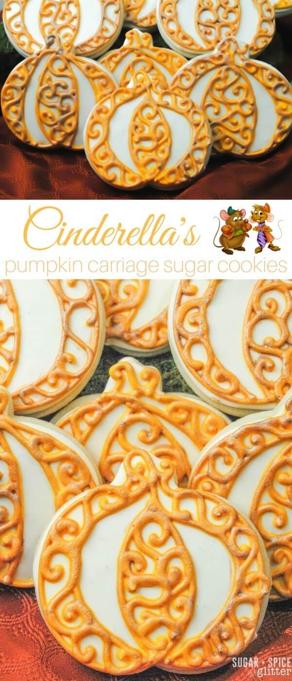 Cinderella's Pumpkin Carriage Sugar Cookies - perfect for a Cinderella party or just as a special treat for a princess. An easy Disney dessert with major wow-factor