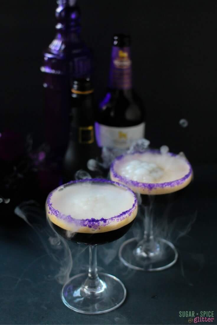 Delicious dark chocolate champagne cocktail made with chocolate stout. A spooky and gothic cocktail for Halloween