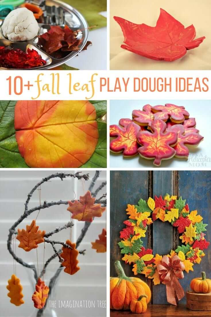 10 Fall Leaf Play Dough Ideas to celebrate the changing of the seasons with some fun sensory play - everything from ways to display fall salt dough leaves to play dough invitations