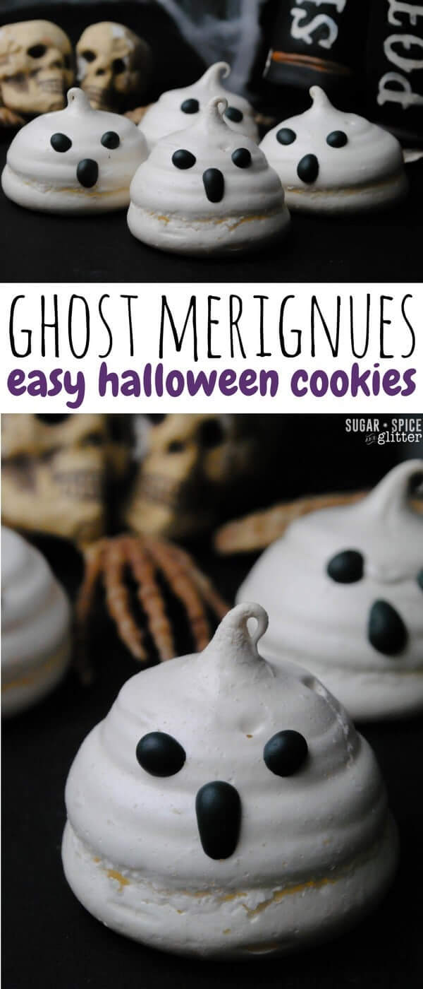 How cute are these Ghost Meringue cookies? Such a cute & easy halloween cookie idea and they taste great - disappearing on your tongue, just like a ghost