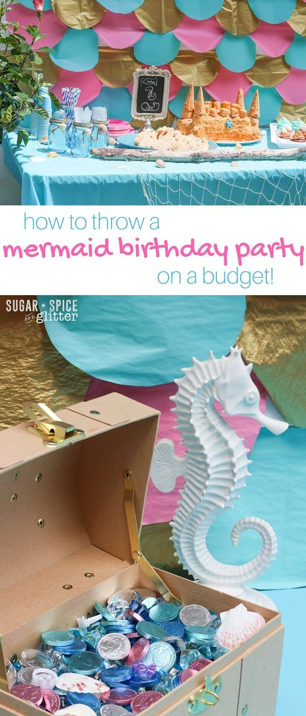 How to Throw a Mermaid Birthday Party on a budget - this mom shares all of the details how she entertained 40 people on a budget of $150. Such cute details, including the mermaid party foods, mermaid play list, and mermaid party activities