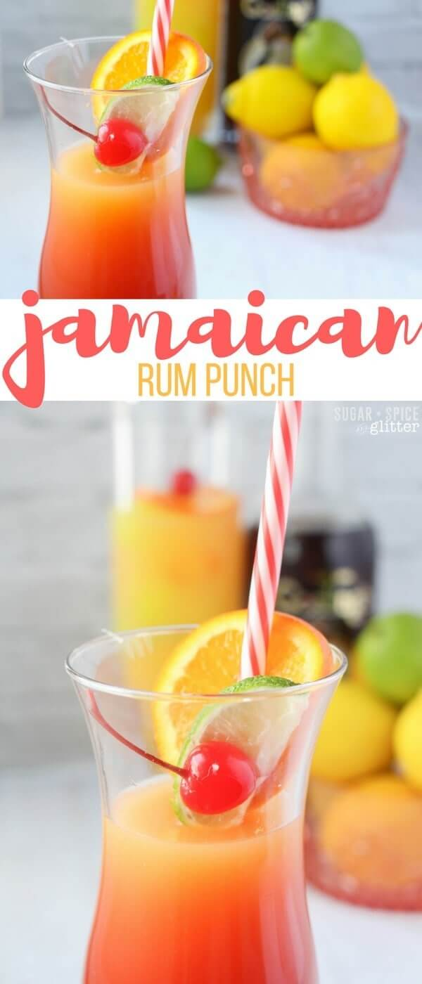 Jamaican Rum Punch - a delicious tropical cocktail perfect for bringing a bit of sun into your day, no matter what time it is. It looks like a beautiful sunset in a glass and tastes amazing