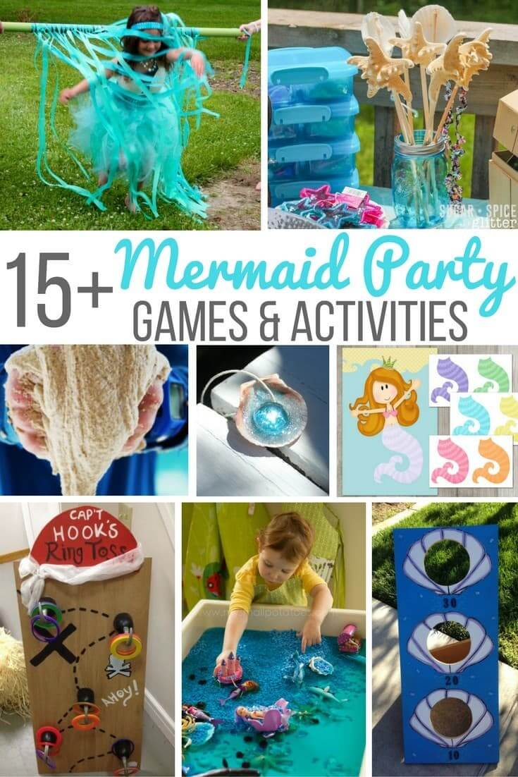 Mermaid Party games and activities for the mermaid birthday on a budget! Quick and easy activities if you need a break from the water games or are hosting an indoor mermaid party