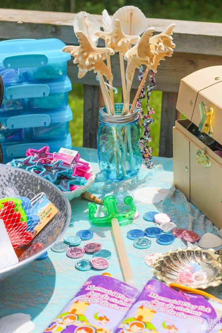 Mermaid Party Homemade Favors and easy Mermaid Party Decor on a Budget