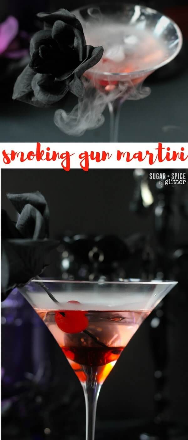 A delicious dry martini with a cherry twist - perfect for a spy themed party or any spooky soiree