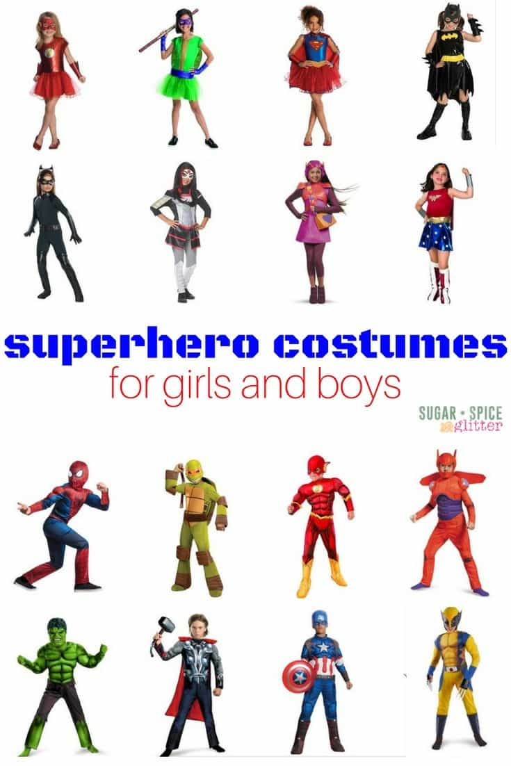 Affordable and cute superhero costumes for girls and boys - because girls can be superheroes, too!