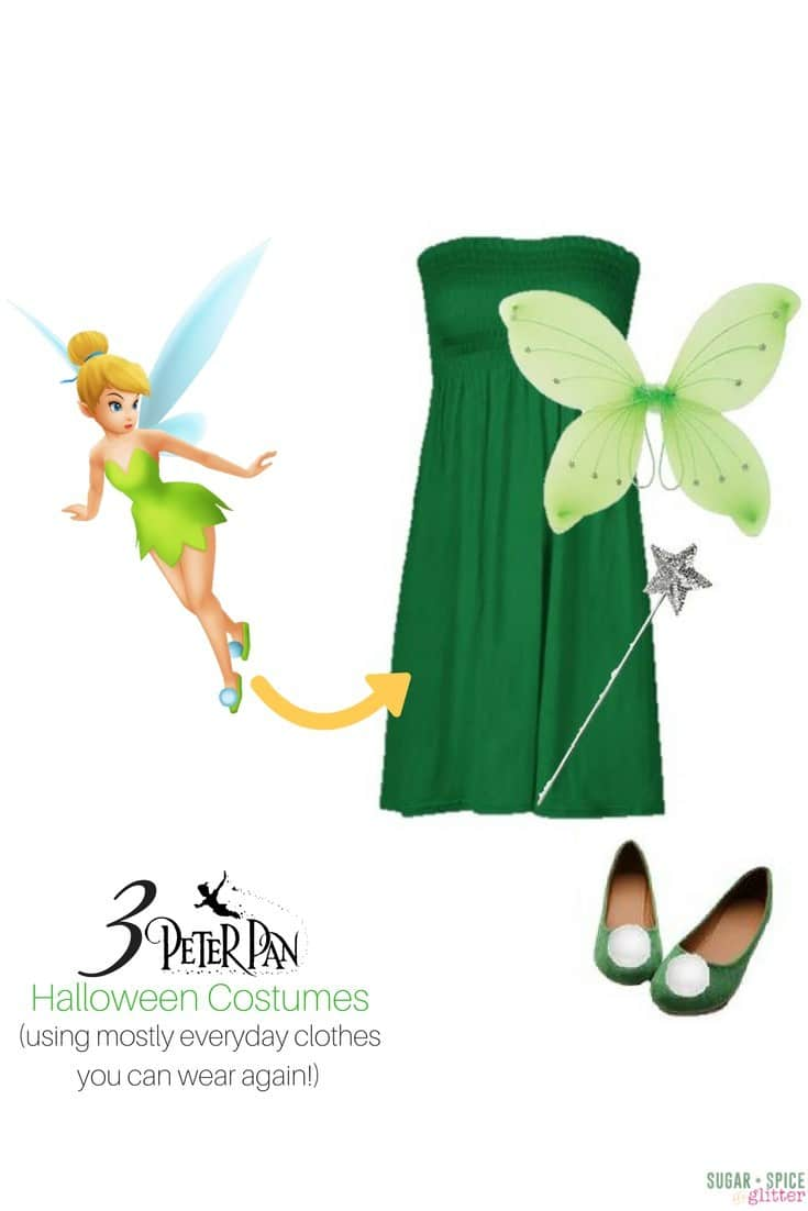 Tinkerbell costume for grown ups with easy DIY shoes and a dress you can wear after Halloween! Tinkerbell Disneybounding