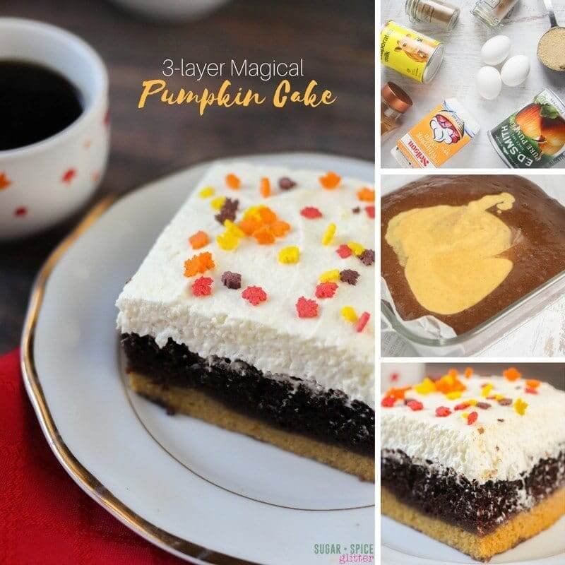 three layer magic pumpkin cake