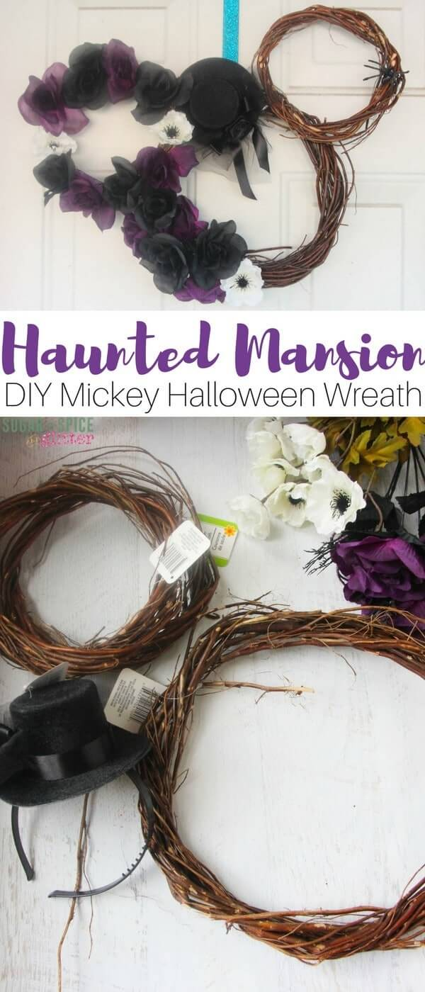 The perfect DIY Halloween wreath for the Disney fan, a Haunted Mansion Mickey wreath that really sets a spooky tone while showing off your Disney and Halloween spirit