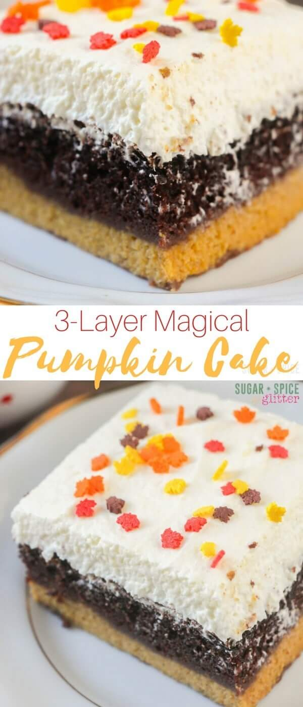 A decadent and delicious 3-Layer Magical Pumpkin Cake - seriously, the best dessert you could possibly serve this Fall. Even if you are not a Pumpkin fan, this cake will make a believer out of you. With rich, moist chocolate cake, tender pumpkin pie filling, and a fluffy vanilla mousse on top - this cake has it all