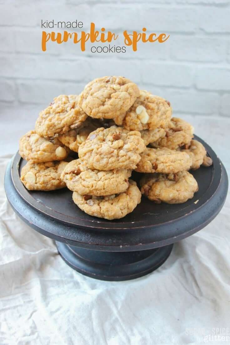 A delicious fall pudding mix cookie, these kid-made pumpkin spice cookies have not one but two secret ingredients, resulting in a chewy, pumpkin spice cookie that everyone will love