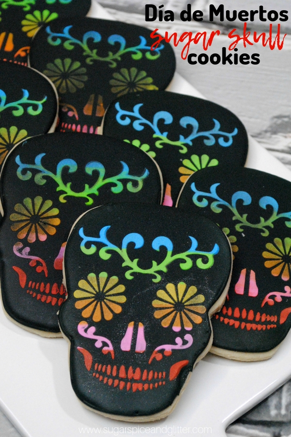 A super simple sugar skull cookie recipe that uses a printable template, this Day of the Dead cookie is great for Día de Muertos or watching Disney's Coco