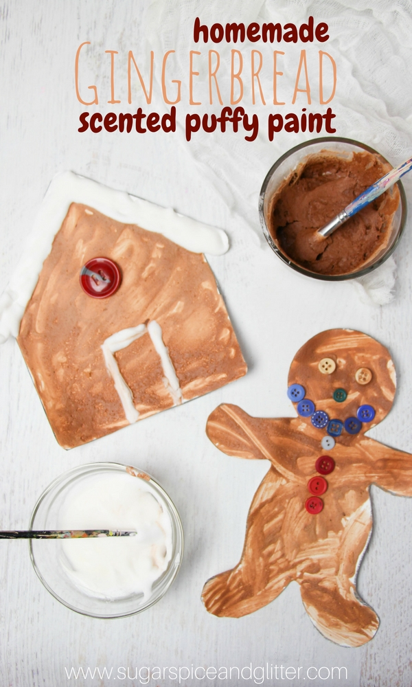 Gingerbread Puffy Paint, a delicious-smelling winter sensory art experience. Sensory play mixed with winter crafts - what could be better?