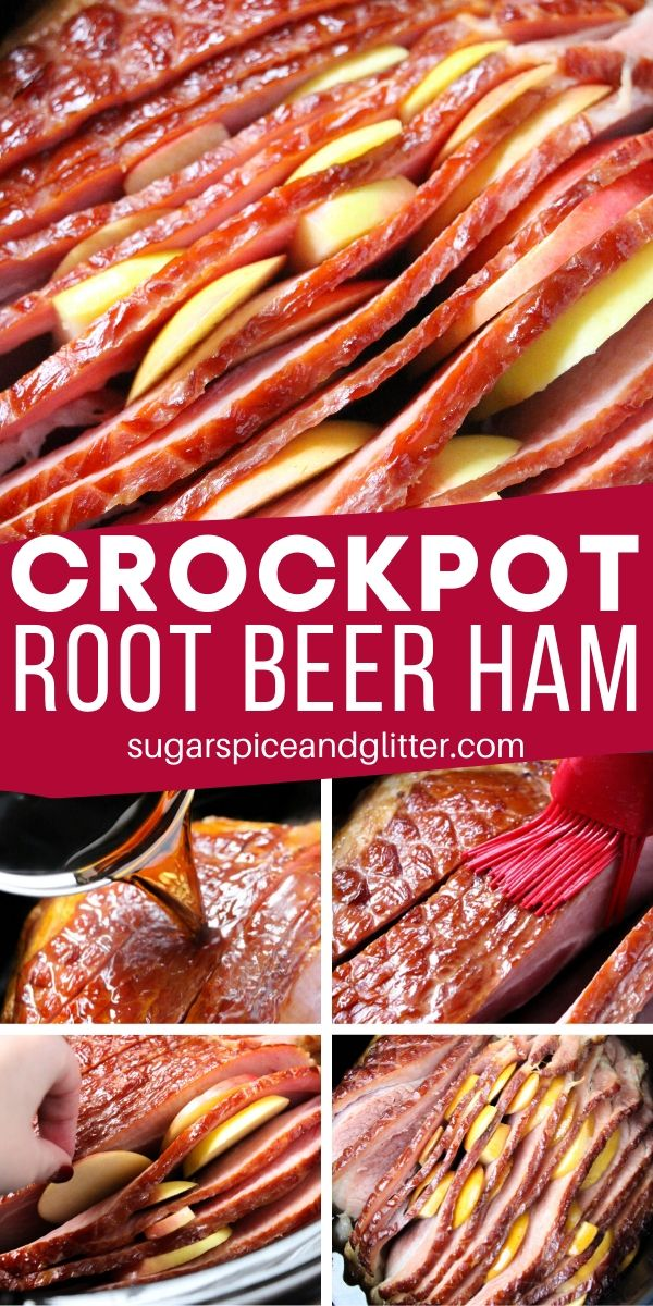 This Crockpot Root Beer Ham combines root beers, brown sugar, apples and liquid smoke to create a sweet, salty, smoky and succulent spiral ham recipe