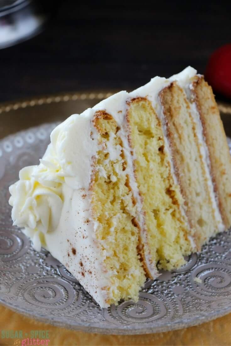 Oh my goodness, would you look at this amazing eggnog cake with homemade eggnog buttercream? A light and fluffy eggnog cake recipe to die for!