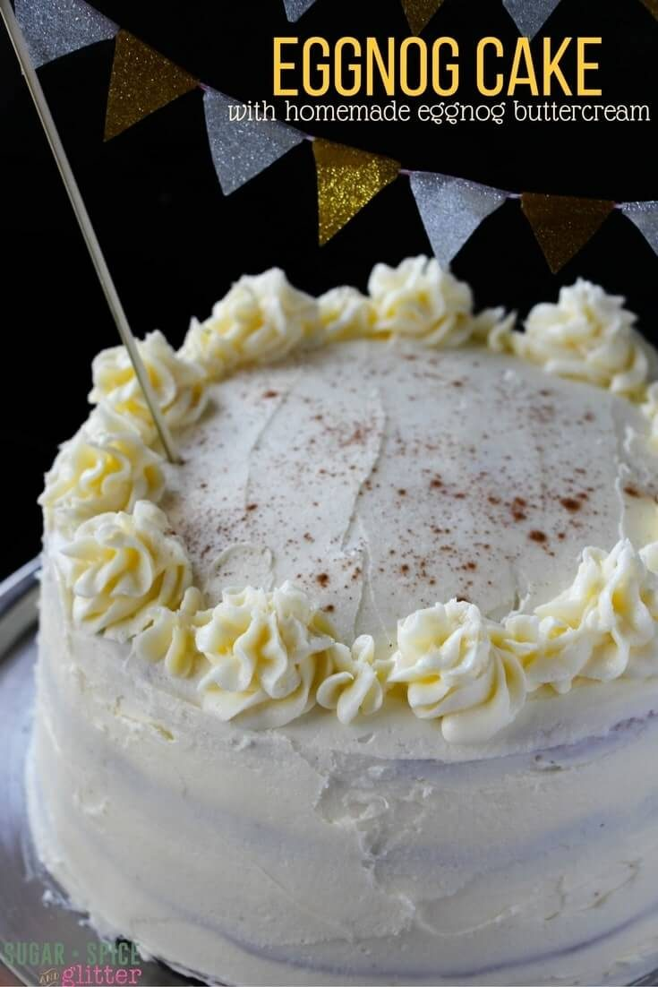 Fluffy Eggnog Cake with Eggnog Buttercream