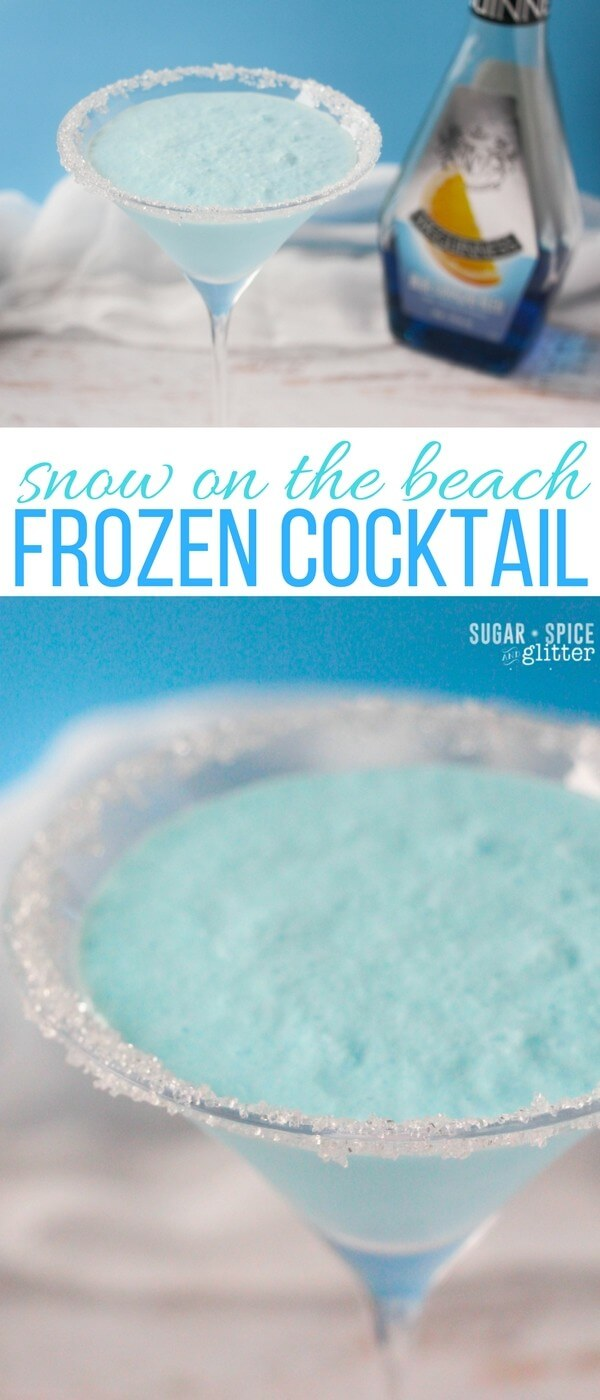 A winter cocktail update on a summer classic, this Snow on the Beach Frozen Cocktail has a delicious tropical, citrus flavor perfect for a winter party or a bit of winter in the summertime