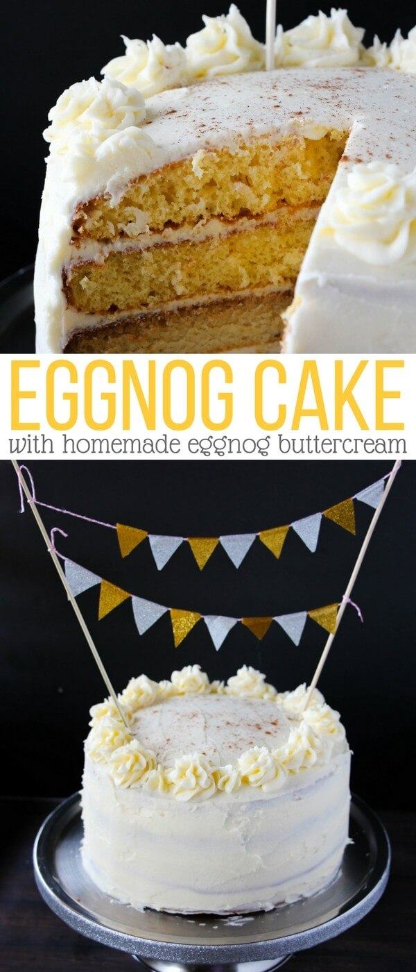 The best eggnog cake you will ever eat - with homemade eggnog buttercream that is worth it's weight in gold! Your guests will be begging for the recipe after you serve this decadent eggnog cake at your next winter party