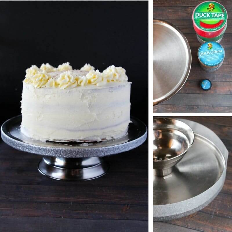 How to add a glitter edge to a plain cake stand with duck tape!