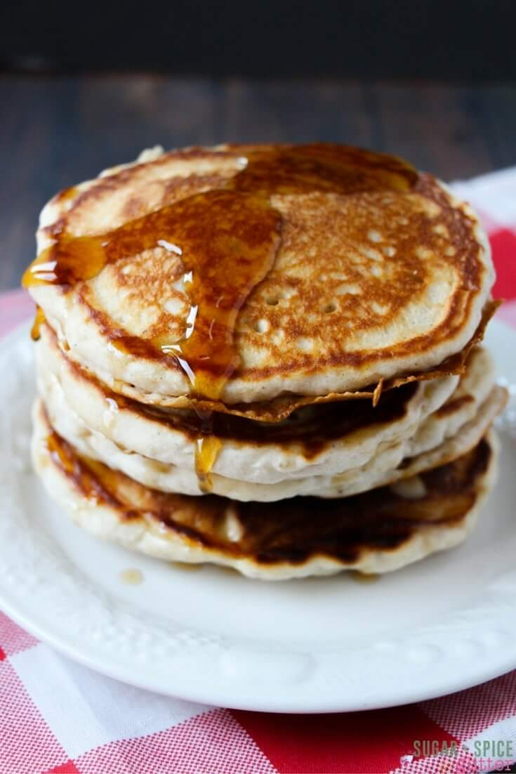 If you love eggnog, you are going to go crazy for these delicious eggnog pancakes that can be whipped up in 10 minutes flat