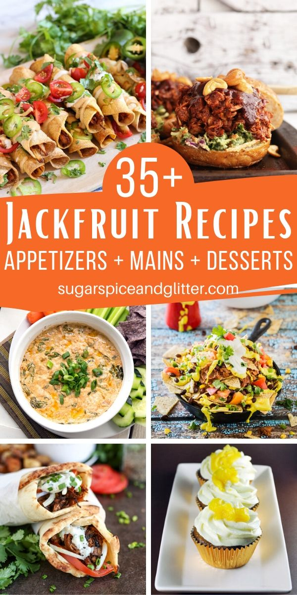 35+ delicious jackfruit recipes for breakfast, lunch, dinner - and dessert! This versatile fruit can imitate meat or take on a sweet flavor for desserts, making it the ultimate meatless option this year