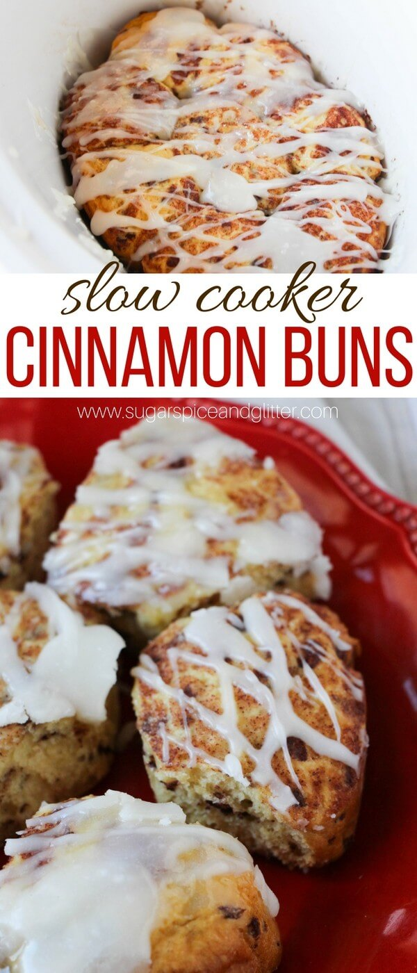 Make these delicious slow cooker cinnamon buns in a slow cooker for a simple yet special breakfast no matter how busy your morning. This would be so perfect for kids to make breakfast on mother's day