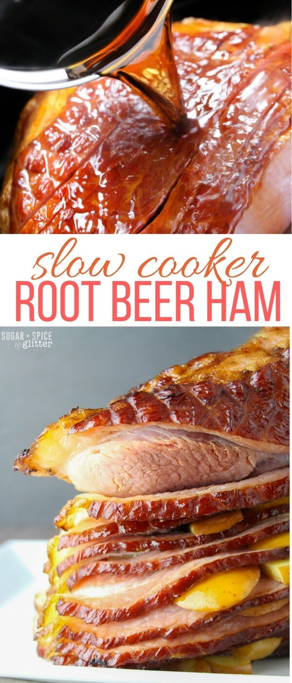 Slow Cooker Root Beer Ham - the best ham recipe I have ever made, and definitely the easiest. Succulent, juicy ham with a slightly crisp and caramelized skin with that delicious sweet hint of root beer and fresh apple.