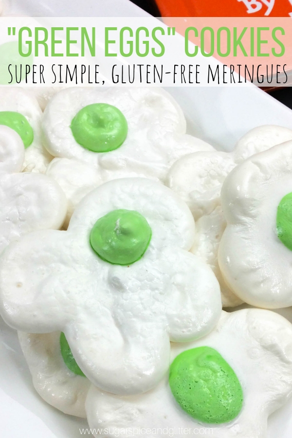A simple meringue cookie inspired by Dr Seuss's Green Eggs and Ham. A fun classroom treat or Seuss party food