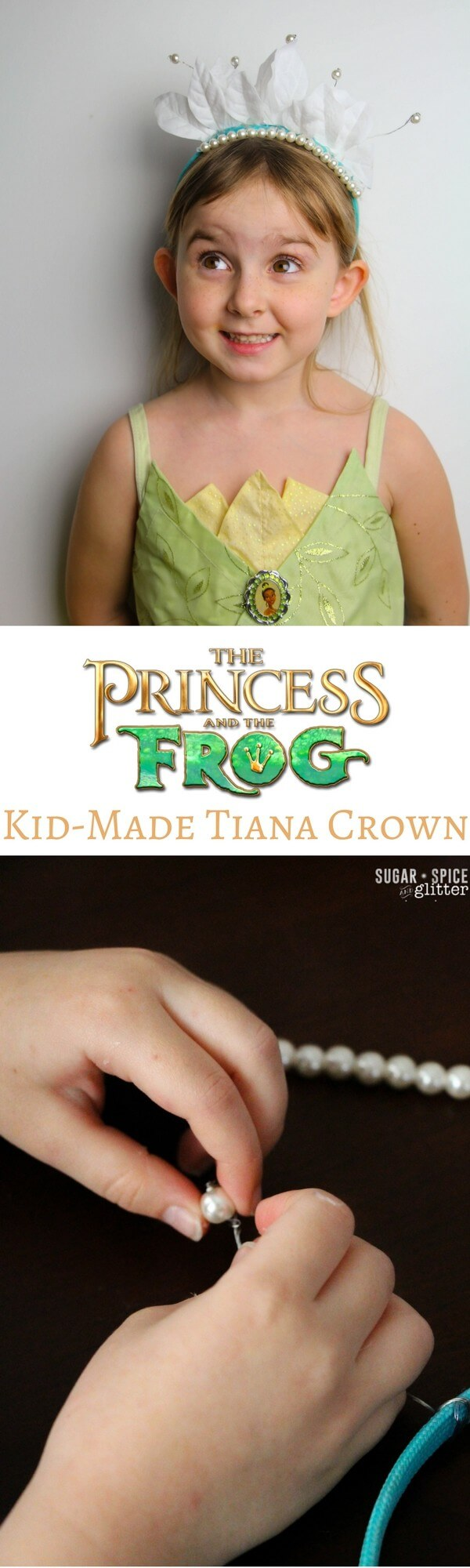 How to make a quick and easy Princess Tiana tiara headband from the Disney movie The Princess and the Frog. This cute Disney craft is a the perfect touch to a Princess Tiana costume or Disneybounding outfit