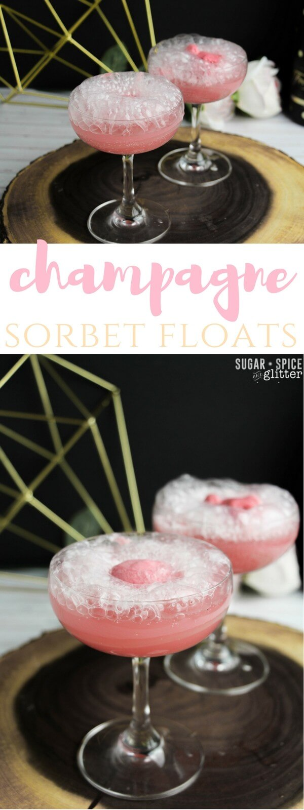 The perfect way to celebrate - with cocktails and dessert at the same time! These cute and bubbly champagne sorbet floats are the perfect cocktail to toast your special occasion