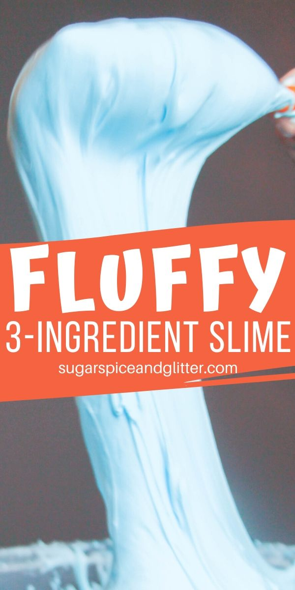 The easiest, squishiest, fluffiest, stretchiest slime recipe you will ever make - keep the kids happy for hours with this 3-ingredient slime recipe