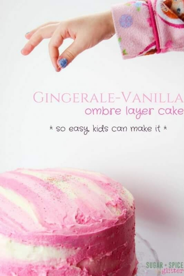 A fun Valentine's Day cake kids can help make, this Gingerale Cake is light and sweet, perfect for a Valentine's day party